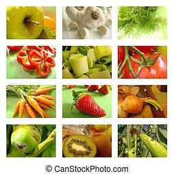El collage de nutrición de comida sana