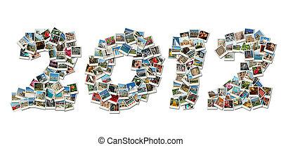 El collage de tarjetas PF de 2012 hecho de fotos de viaje con famosos puntos de referencia de Israel, Grecia, India, Italia, Bulgaria, etc