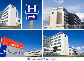 El collage del hospital moderno