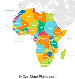 El colorido mapa vectorial de África