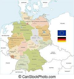El colorido mapa vectorial de Alemania