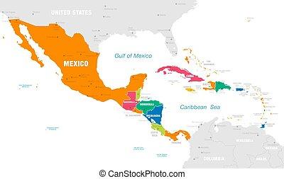 El colorido mapa vectorial de América Central