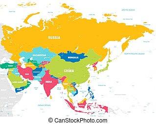 El colorido mapa vectorial de Asia