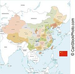 El colorido mapa vectorial de China