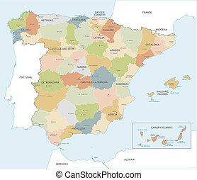 El colorido mapa vectorial de España