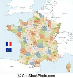 El colorido mapa vectorial de Francia