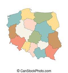 El colorido mapa vectorial de Polonia
