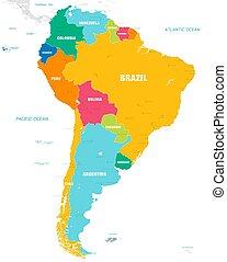 El colorido mapa vectorial de Sudamérica