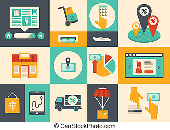 El comercio electrónico y los iconos de las compras en línea