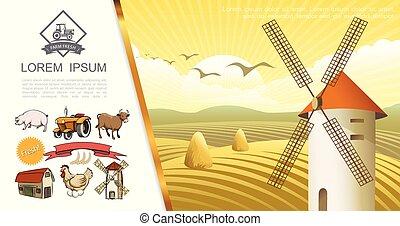 El concepto colorido de la granja Retro