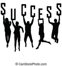El concepto de éxito con jóvenes siluetas de equipo