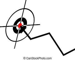 El concepto de éxito de negocios, dardo en el centro de un dardo,