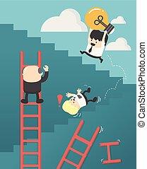 El concepto de éxito no tiene atajos. Los empresarios sostienen una bombilla en las escaleras.