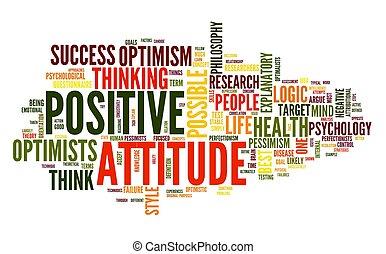 El concepto de actitud positiva en la nube de etiqueta