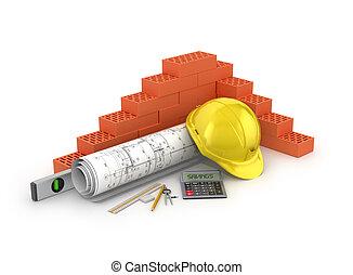 El concepto de ahorrar en materiales de construcción. ilustración 3D