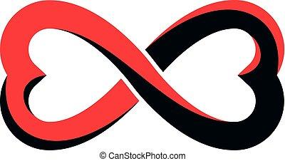 El concepto de amor eterno, símbolo vector creado con bucle infinito y Marte macho una Venus hembra seña. Idea de relación.