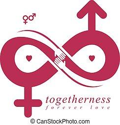 El concepto de amor infinito, símbolo vector creado con signo infinito y Marte macho una Venus hembra seña. Idea creativa de relaciones.