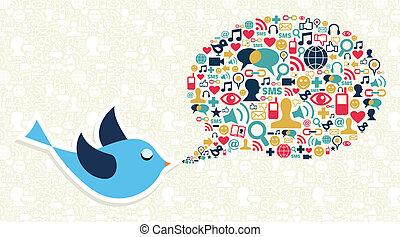 El concepto de aves de mercadeo social