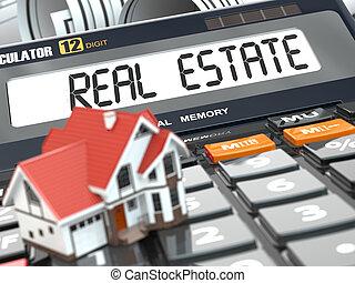 El concepto de bienes raíces. Casa en calculadora. Hipoteca.