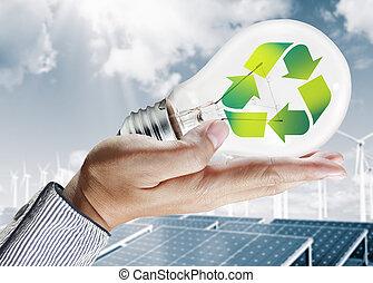 El concepto de bombillas verdes