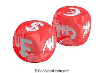 El concepto de cambio de moneda, dados con monedas. 3D