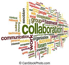 El concepto de colaboración en la nube de palabras