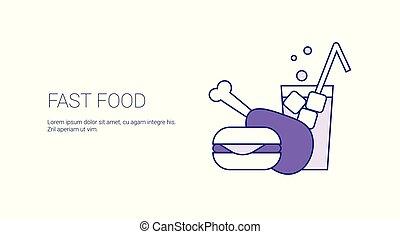El concepto de comida rápida termale una bandera web con espacio de copia