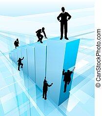 El concepto de competencia de la gente de negocios de Silhouette