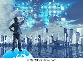 El concepto de computación de nubes en el collage tecnológico