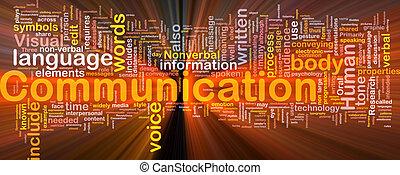 El concepto de comunicación de fondo brilla