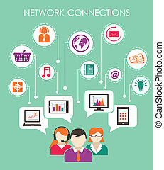 El concepto de conexión de la red social