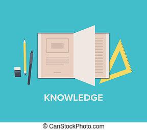 El concepto de conocimiento es una ilustración plana