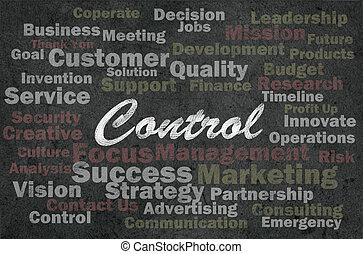 El concepto de control con palabras relacionadas con los negocios sobre el pasado retro