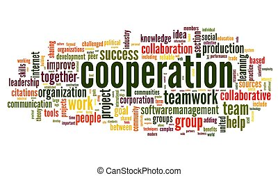 El concepto de cooperación en la nube de palabras sobre el blanco
