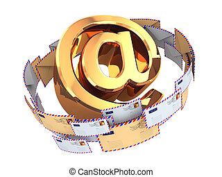 El concepto de correo electrónico. El símbolo de oro y sobres aislados en el B blanco