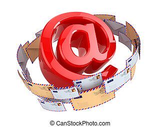 El concepto de correo electrónico. En símbolos y sobres aislados en el backgr blanco