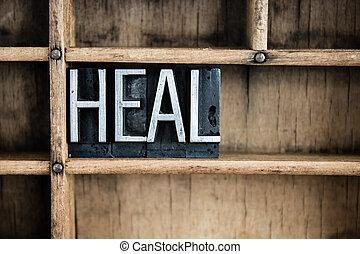 El concepto de cura de la letra metálica en el cajón