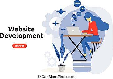 El concepto de desarrollo website moderno de diseño plano. Ilustración de vectores