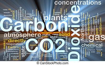 El concepto de dióxido de carbono brilla