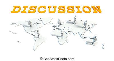 El concepto de discusión con el equipo de negocios