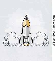 El concepto de diseño creativo con herramienta de lápiz como cohete