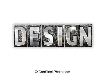 El concepto de diseño de letras de metal aisladas
