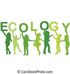 El concepto de ecología con siluetas infantiles,