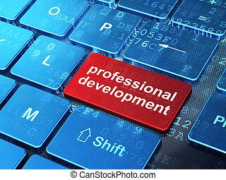 El concepto de educación: teclado informático con palabra Desarrollo Profesional en el fondo de botón, versión 3D