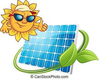 El concepto de energía solar con dibujos animados sol y panel solar