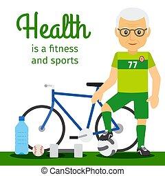 El concepto de estilo de vida del viejo y el equipo deportivo