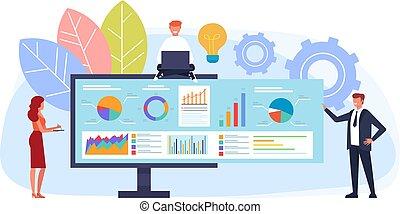 El concepto de estrategia de negocios en línea. Ilustración de dibujos animados de diseño plano vectorial
