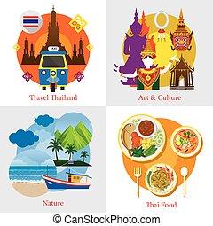 El concepto de etiqueta de viaje de Tailandia