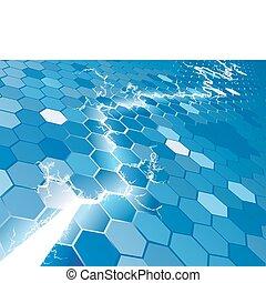 El concepto de fondo de hexagon eléctrico