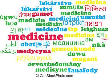 El concepto de fondo de palabra multi-lenguaje de medicina